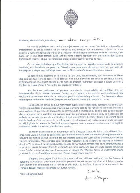 manifeste de Mgr le duc d'Anjou, chef de La Maison de Bourbon 001