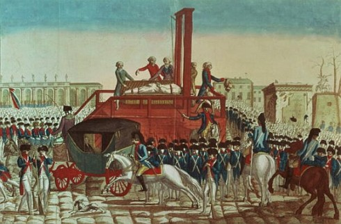 XIR14664 Execution of Louis XVI (1754-93) 21st January 1793 (coloured engraving) (see also 154902)  by French School, (18th century); Bibliotheque Nationale, Paris, France; Giraudon; French, out of copyright