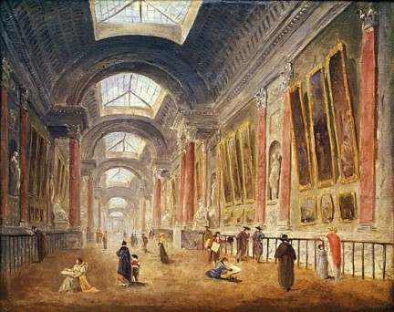 XIR172271 The Grande Galerie of the Louvre (oil on canvas) by Robert, Hubert (1733-1808); 33.5x42 cm; Louvre, Paris, France; Giraudon; French, out of copyright