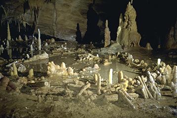 """Vue générale de la salle dans la grotte de Bruniquel, Tarn-et-Garonne en 1992/93. Cette grotte comporte des structures aménagées datées d'environ 176 500 ans. L'équipe scientifique a développé un nouveau concept, celui de """"spéléofacts"""", pour nommer ces stalagmites brisées et agencées. L'inventaire de ces 400 spéléofacts montre des stalagmites agencées et bien calibrées qui totalisent 112 mètres cumulés et un poids estimé à 2,2 tonnes de matériaux déplacés. Ces structures sont composées d'éléments alignés, juxtaposés et superposés (sur 2, 3 et même 4 rangs). Cette découverte recule considérablement la date de fréquentation des grottes par l'Homme, la plus ancienne preuve formelle datant jusqu'ici de 38 000 ans (Chauvet). Elle place ainsi les constructions de Bruniquel parmi les premières de l'histoire de l'Humanité. Ces travaux ont été menés par une équipe internationale impliquant notamment Jacques Jaubert de l'université de Bordeaux, Sophie Verheyden de l'Institut royal des Sciences naturelles de Belgique (IRSNB) et Dominique Genty du CNRS, avec le soutien logistique de la Société spéléo-archéologique de Caussade, présidée par Michel Soulier. UMR5199 DE LA PREHISTOIRE A L'ACTUEL : CULTURE, ENVIRONNEMENT ET ANTHROPOLOGIE 20160048_0007"""