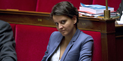 French Minister for Women's Rights and Government Spokesperson Najat Vallaud-Belkacem looks on during a weekly session of questions to the government on October 9, 2013 at the National Assembly in Paris. AFP PHOTO / FRED DUFOUR