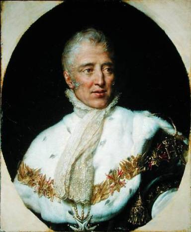 BRM174409 Portrait of Charles X (1757-1836) King of France (oil on canvas) by Rouget, Georges (1784-1869) oil on canvas Private Collection Giraudon French, out of copyright